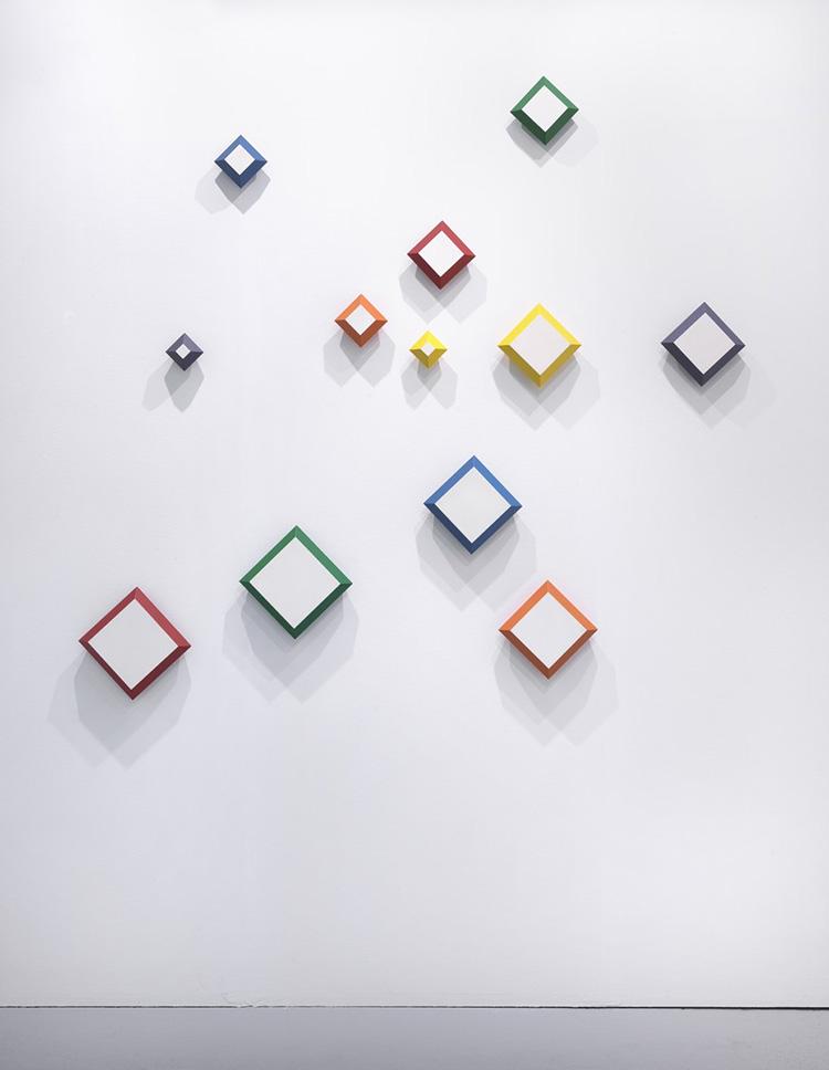 Paolo Minoli, ... i vuoti scolpiti ..., 1989, acrilici su tavola, cm. 173x188. Galleria Bonioni Arte, Artefiera 2017, foto Dario Lasagni