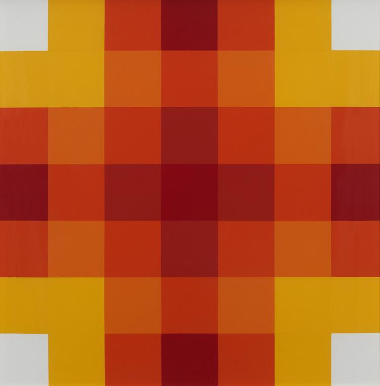 Paolo Minoli, Compenetrazioni lineari, 1974, acrilici su tela, cm. 70x70, foto Dario Lasagni
