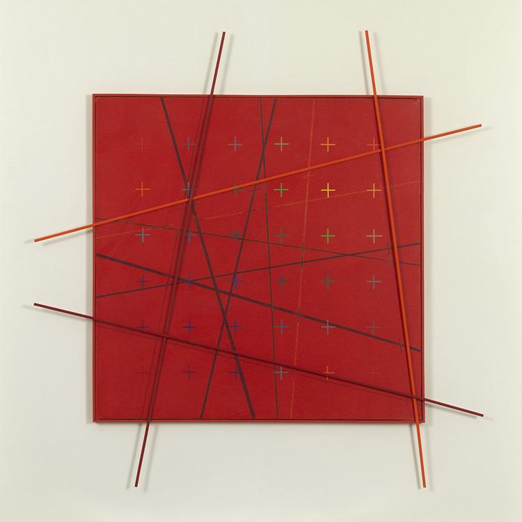 Paolo Minoli, Trasfigurato, 1983, acrilici su tela e rilievi in legno, cm. 120x120, foto Dario Lasagni