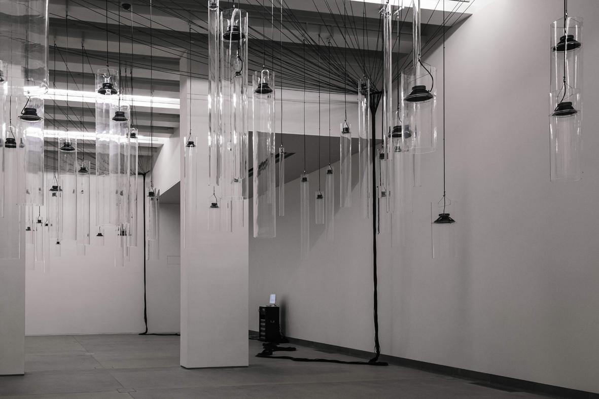 Roberto-Pugliese-Emergenze-acustiche-2013-plexiglass-speakers-cavi-audio-cavi-in-metallo-computer-software-composizione-audio-Courtesy-Tenuta-dello-Scompiglio-Capannori-LU-ph.-Guido-Mencari
