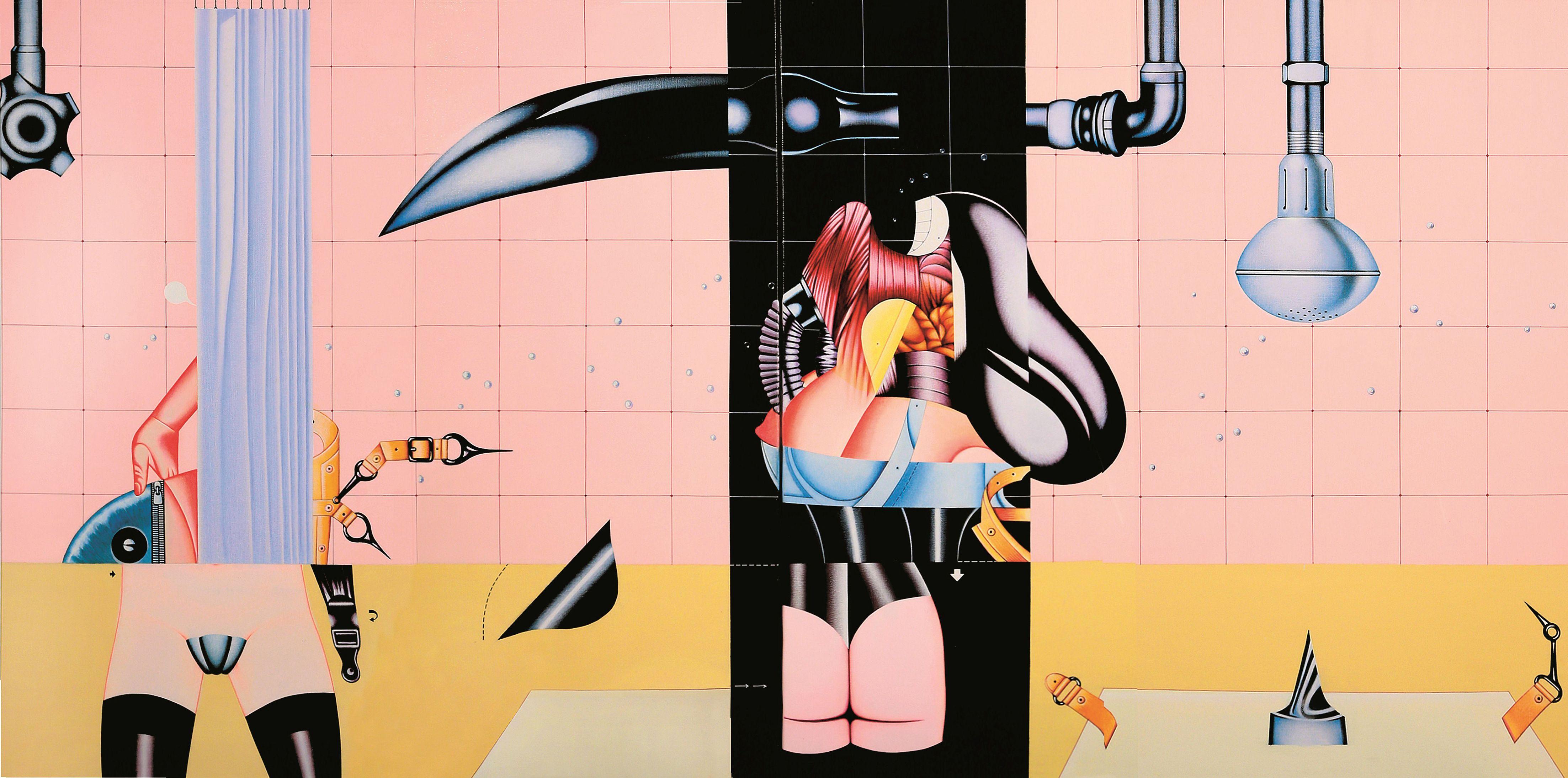 Sergio Sarri, La doccia (The Shower), 1970, acrilico su tela, 120x140 cm