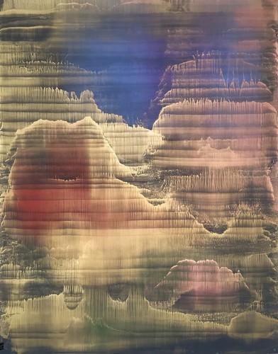Matteo Montani, Vespertine rising, 2017, olio e polveri metalliche su carta abrasiva intelata