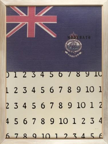 Vincenzo Agnetti, Discorso n°5, 1974, foto stampata a colori e scrittura serigrafata incollata su alluminio, 100x138 cm