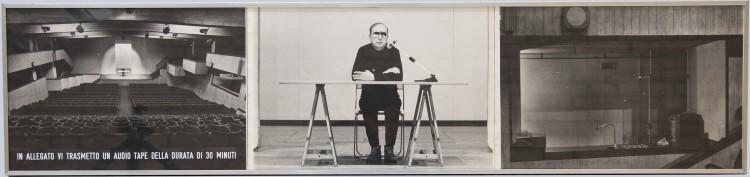 Vincenzo Agnetti, In allegato vi trasmetto un audiotape della durata di 30 minuti, 1973, riporto fotografico ed audiotape di 30 minuti, 27x118 cm