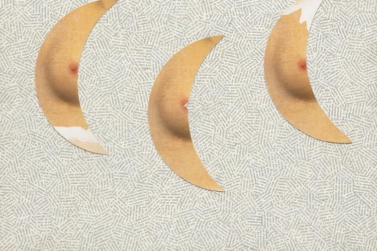 """Jiří Kolář, Tre """"lune pubbliche"""" passeggiano nel cielo, 1990, collage art défectueux, 50x50 cm"""