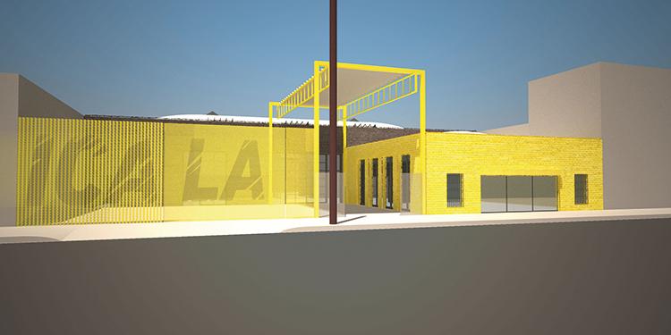 Render del progetto di wHY per ICA LA con il nuovo logo di Mark Bradford