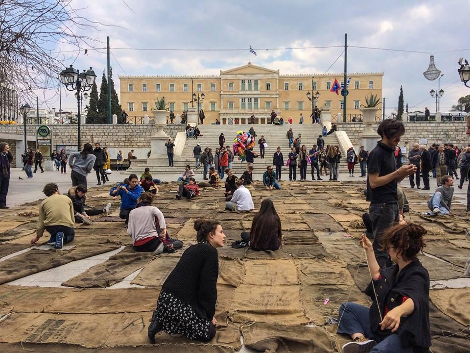 Ibrahim Mahama's performance Check Point Prosfygika 1934_2034-2016–2017Piazza Syntagma, Atene
