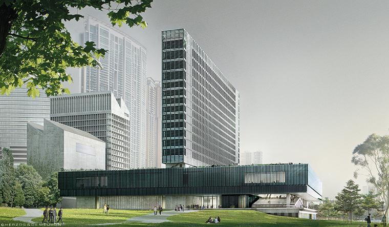 M+, Hong Kong, veduta dal parco. © Herzog & de Meuron. Courtesy: Herzog & de Meuron e West Kowloon Cultural District Authority