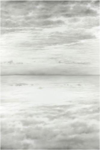 Ettore Frani, Ricucire il cielo, 2017, olio su tavola laccata, opera composta da due tavole indivisibili di cm 75x100 ciascuna, misura complessiva 150x100 cm Foto Paola Feraiorni