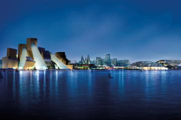 Veduta notturna del Saadiyat Cultural District, render. Da sinistra: Guggenheim Abu Dhabi, Zayed National Museum e Louvre abu Dhabi. Courtesy: Saadiyat Cultural District