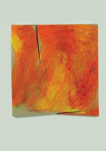 Tetsuro Shimizu, Riverbero T-1, 2017, olio su tela, 120x115 cm Courtesy Galleria Nobili - Paraventi Giapponesi, Milano