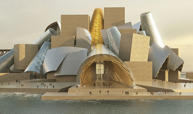 Guggenheim Abu Dhabi. Courtesy: Gehry Partners (© Gehry Partners LLP, render ArteFactoryLab)