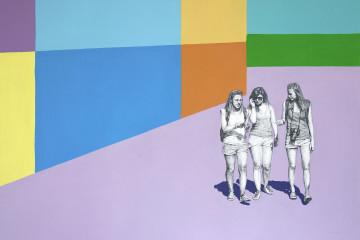 Igor MOlin, E COONETTE, 70x50cm, acrilico e grafite su carta, 2017