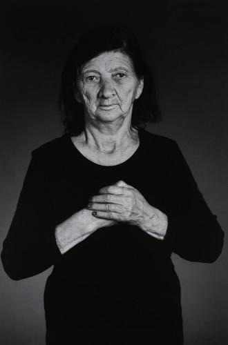 "Shirin Neshat, ""Gizbasti"", from ""The Home of My Eyes"" series, 2015, silver gelatin print and ink, 152.4x101.6 cm Courtesy Written Art Foundation, Frankfurt am Main, Germany"