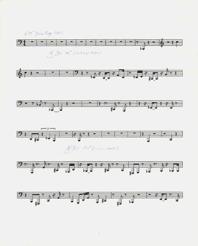 Pierre Huyghe, Silence Score, 1997, Set di quattro spartiti musicali con annotazioni Courtesy Fondation Louis Vuitton © ADAGP, Paris 2017