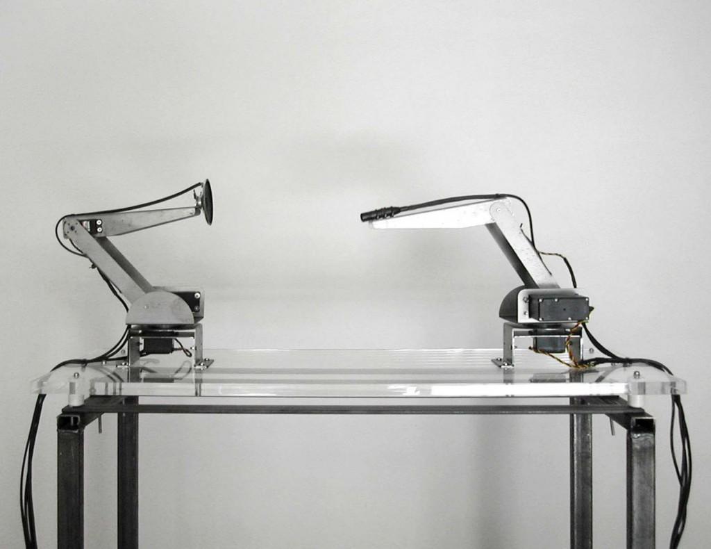 RobertoPugliese, Equilibrium Variant, metal, Plexiglas, motors, electronic circuits 80x30x30 cm , 2011