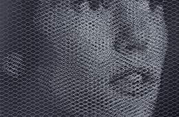 tentolini-giorgio-elementi-per-una-teoria-della-jeune-fille-johanna-2017-rete-metallica-a-maglia-esagonale-intagliata-a-mano-e-sovrapposta-a-fondale-nero-serie-di-3-80x80-cm-cad-3