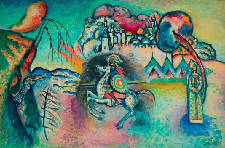 Vasilij Kandinskij, Il cavaliere (San Giorgio), 1914-15, olio su cartoncino, 61x91 cm, Mosca, Galleria Tret'jakov © State Tretyakov Gallery, Moscow, Russia