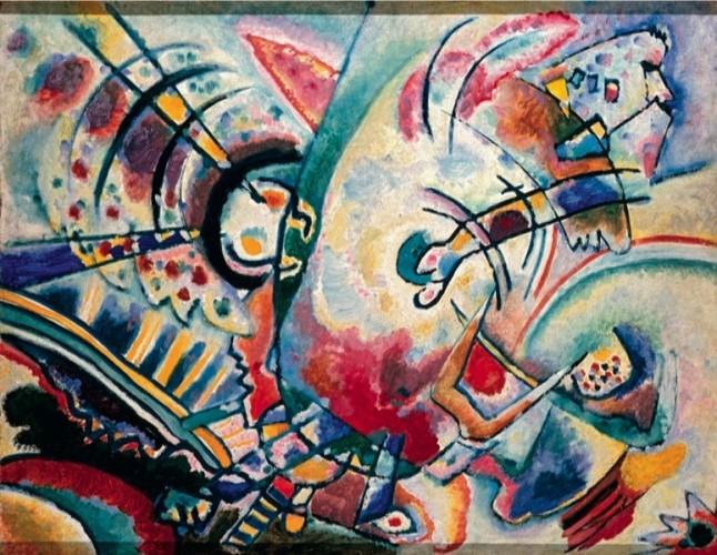 Vasilij Kandinskij, Non-obiettivo (Le naïves), 1910, olio su tela, 50×66 cm, Krasnodar, Museo Regionale d'Arte © Krasnodar Regional Arts Museum after F. A. Kovalenko, Krasnodar, Russia