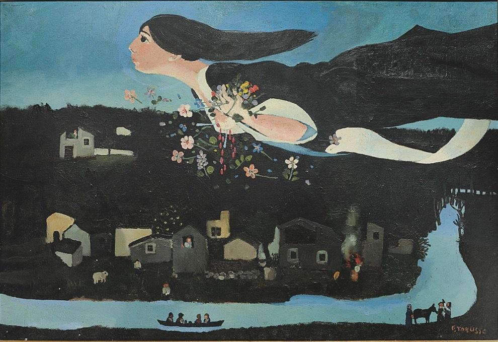 """Francesco Tabusso, Omaggio a Chagall """"S. Teresa"""", 1968 Olio su tela, 80 x 120 cm. Collezione privata"""