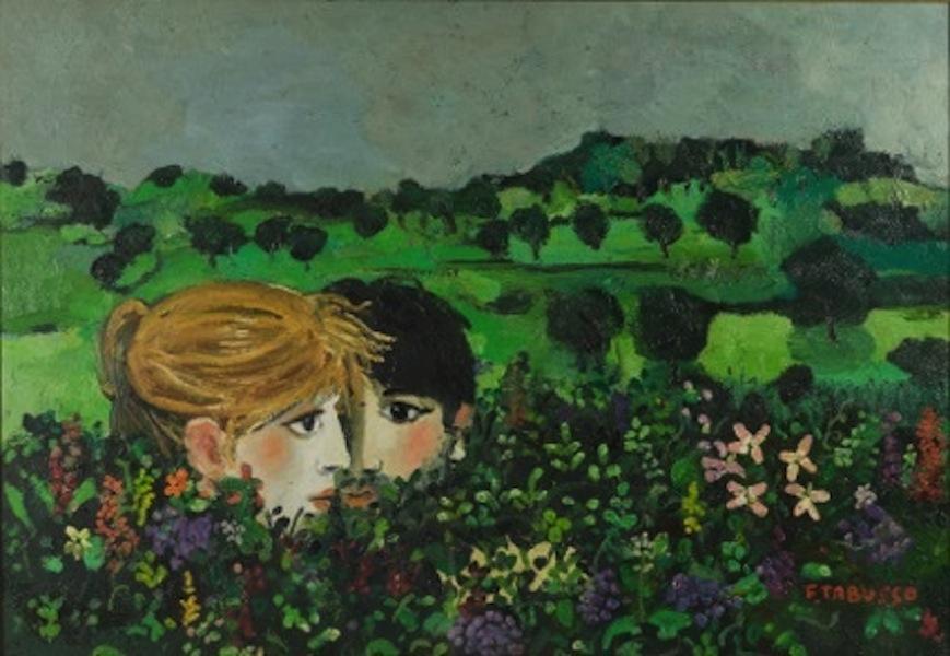 Francesco Tabusso, Fra i fiori, 1977 circa Olio su tela, 71,5 x 100 cm. Collezione privata