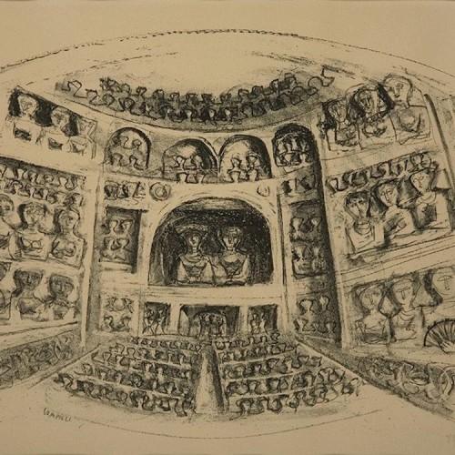 Massimo Campigli, Al teatro, 1952, litografia, 45x32.5 cm (foglio 56x38.5 cm)