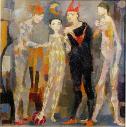 Trento Longaretti, Figure del circo, 1967, olio su tela, 120x100 cm