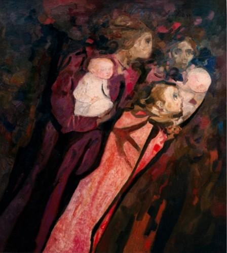 Trento Longaretti, Due madri e ragazza nella violenza, 1977, olio su tela, 165x150 cm
