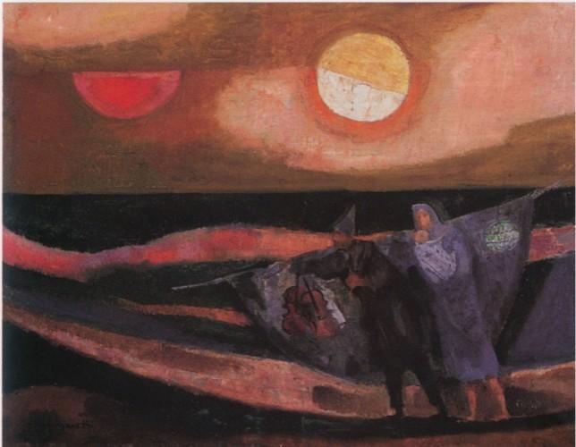 Trento Longaretti, Felicità vanno cercando, 1983-84, olio su tela, 50x65 cm