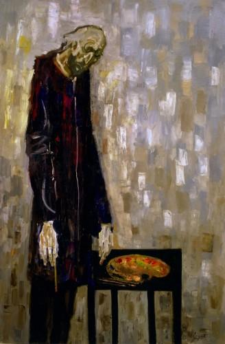 Trento Longaretti, Un vecchio pittore, 2003, olio su tela, 180x120 cm