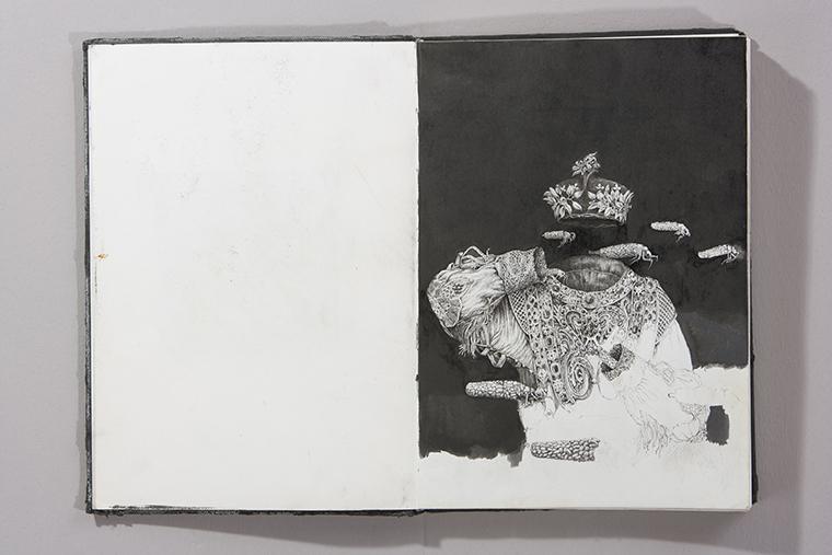 Studio per Ade, 2012 disegno a china nera su carta rilegata in taccuino, cm 29,5x20,5. Foto: Andrea Parisi