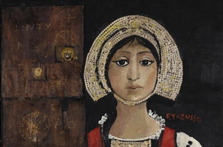 Francesco Tabusso, Costume di Gressoney, 1977, Olio e collage su tela, 55 x 80 cm, Collezioni regionali