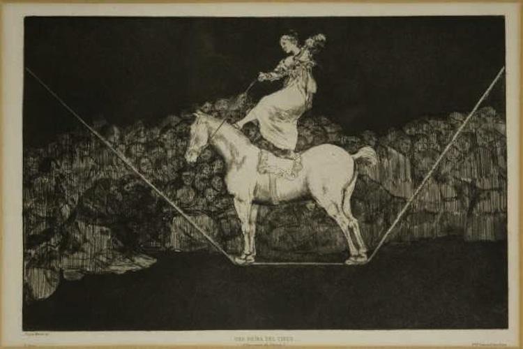Francisco Goya y Lucientes, Una Reïna del circo, 1819 circa, acquatinta e lavis, 24.5x35 cm