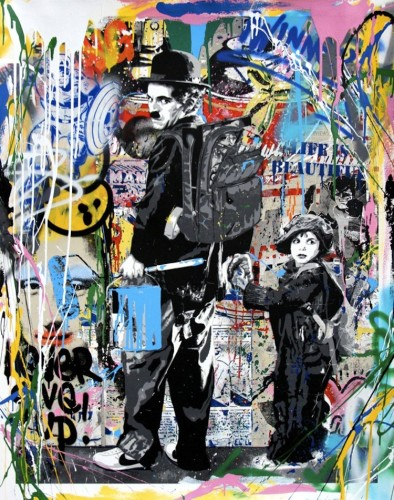 Mr. Brainwash, Just Kidding, 2017, tecnica mista su carta, 120.7x95.2 cm