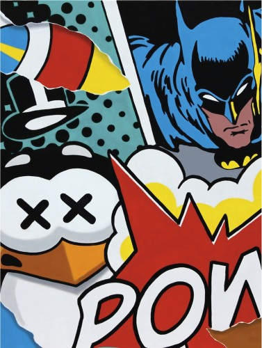 Pao, Batman vs Penguin, 2017, serigrafia, tecnica mista, 100x70 cm