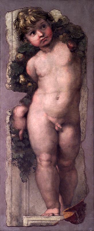 RAFFAELLO, Putto reggifestone, s.d., affresco, 41,5x110 cm Accademia Nazionale di San Luca, Roma
