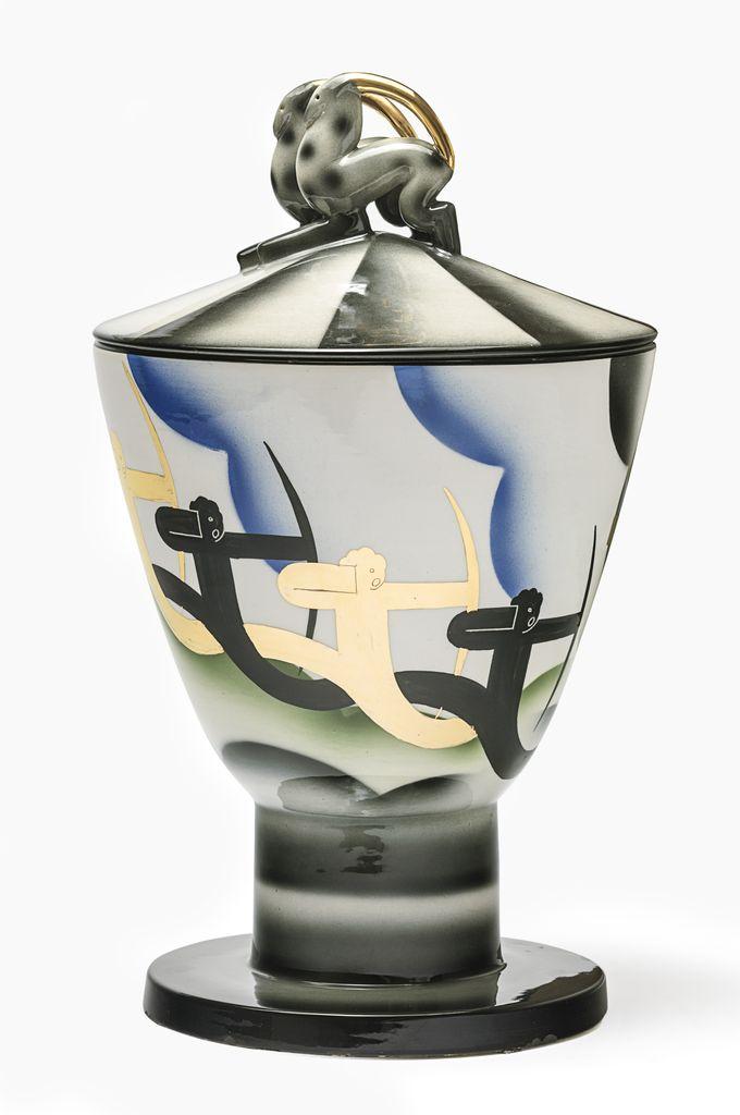 Dante Baldelli, Ceramiche Rometti, Cista degli arcieri, 1930 ca., h cm 45 x diam. 27, ceramica, Collezione Marco e Pietro Visconti