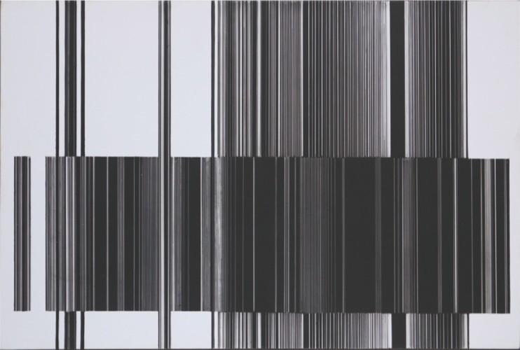 Luc Peire, Graphie 1128, 1973, pittura e formica, 30x45 cm Courtesy Lorenzelli Arte, Milano
