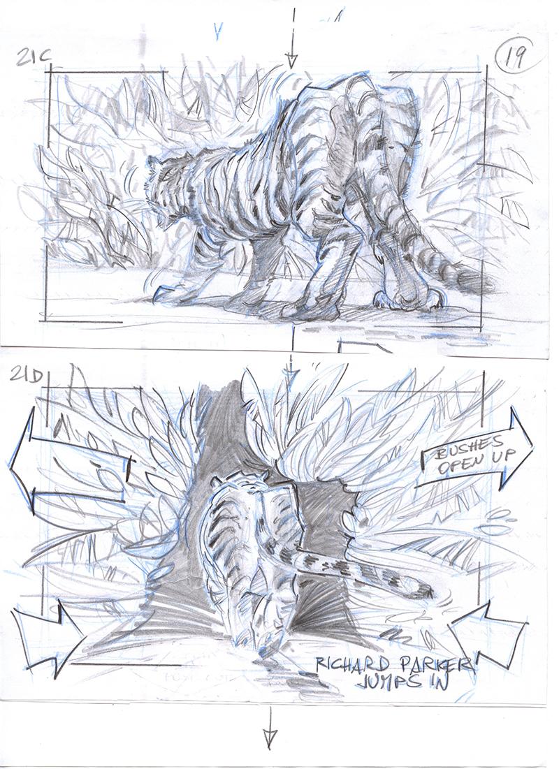 Vita di Pi di Ang Lee, USA, 2012. Storyboard di Giacomo Ghiazza. In prestito da Giacomo Ghiazza