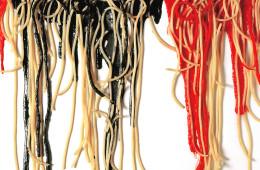 Armando Testa, Spaghetti su tela, 1991.  Courtesy: Collezione Gemma De Angelis Testa
