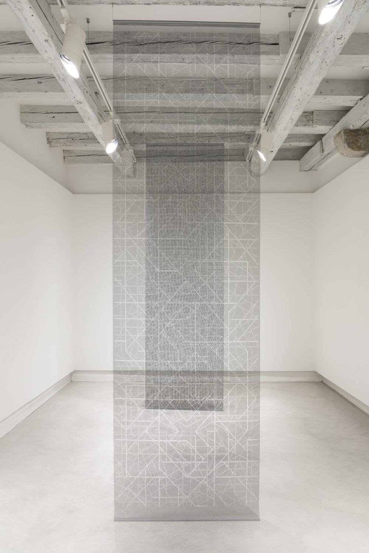 Aldo Grazzi, Pieno 1 Pieno 2, 1998, cut-fiber-nets-230-x-80-cm