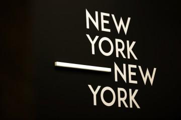 New York New York. Arte italiana. La riscoperta dell'America, logo-tipo della mostra, Museo del Novecento e Gallerie d'Italia, Milano Foto di Maurizio Tosto