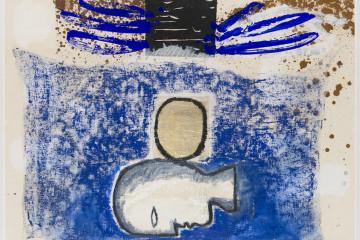 Mimmo Paladino, L'oro, 2010, tecnica mista su cartone, 72x103 cm