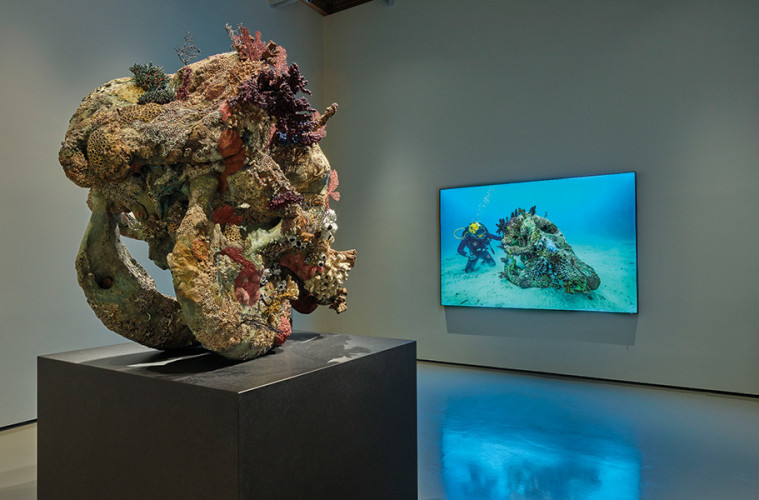 (left to right) Damien Hirst, Skull of a Cyclops, Skull of a Cyclops Examined by a Diver (photography Christoph Gerigk), Palazzo Grassi. Photographed by Prudence Cuming Associates © Damien Hirst and Science Ltd. All rights reserved, DACS/SIAE 2017