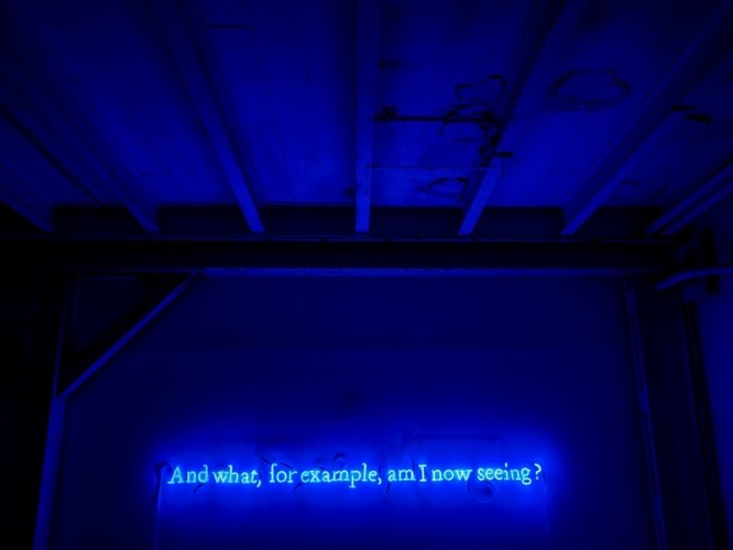 "Joseph Kosuth, Nr. 316 (On Color) (Cobalt blue), ""Wittgenstein series"", 1991, (And what for example am I now seeing), Neon, © Arnold Jerocki"