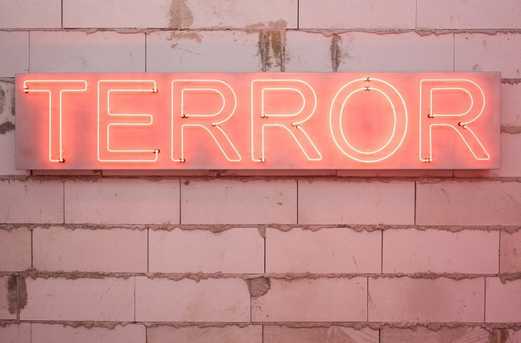 Kendell Geers & K. O. LAB, T:ERROR, 2003, Neon rosso, 40x250x14 cm Photo credit: Max Geuter Courtesy Galleria Continua