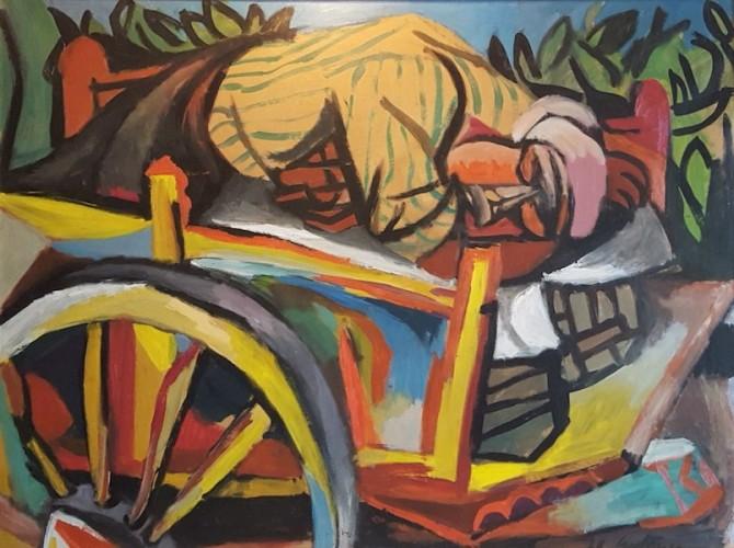 Renato Guttuso, Carrettiere siciliano addormentato, 1946, olio su carta intelata, 75x100 cm