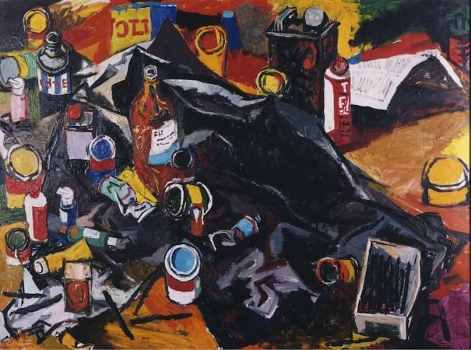 Renato Guttuso, Lo studio dell'Artista, 1963, olio su tela, 100x130 cm