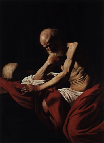 Michelangelo Merisi da Caravaggio, San Girolamo penitente, 1605-1606, olio su tela, 145.5x101.5 cm, Museu de Montserrat, Barcellona, Museu de Montserrat, Barcellona. Foto di Daniel Rovira