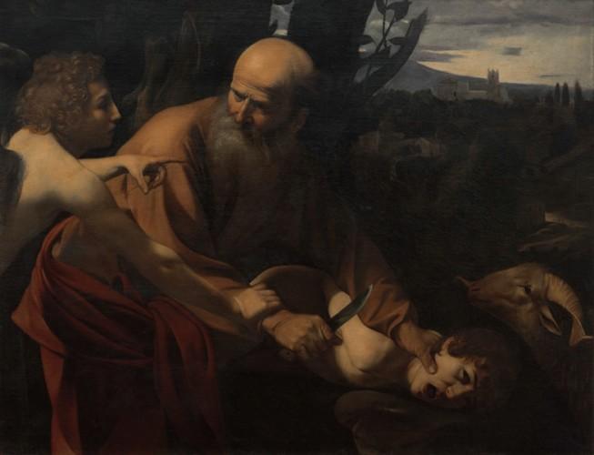 Michelangelo Merisi da Caravaggio, Sacrificio di Isacco, 1602-1603, olio su tela, 152.5x182x11 cm, Galleria degli Uffizi, Firenze, Gabinetto Fotografico delle Gallerie degli Uffizi